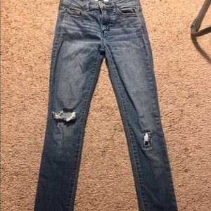 dark washed slightly distressed jeans